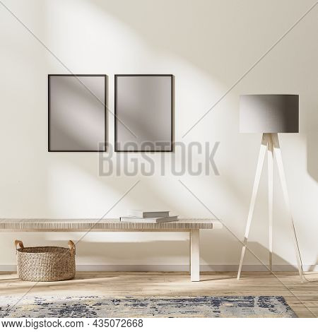 Frames Mock Up In Modern Living Interior, Bright Room With Sunbeams, Wall Mock Up, 3d Rendering