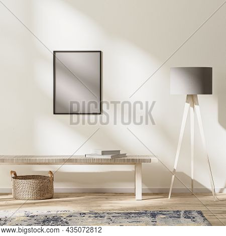 Frame Mock Up In Modern Living Interior, Bright Room With Sunbeams, Wall Mock Up, 3d Rendering