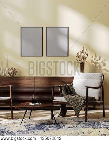 Poster Frames Mock Up In Cozy Modern Living Room Interior Mock Up In Light Brown Tones, Scandinavian