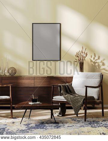 Poster Frame Mock Up In Cozy Modern Living Room Interior Mock Up In Light Brown Tones, Scandinavian