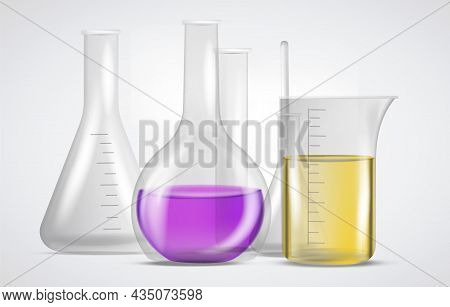 Chemical Flasks With Substances. Equipment For Scientific Experiments. Realistic Glassware From Labo