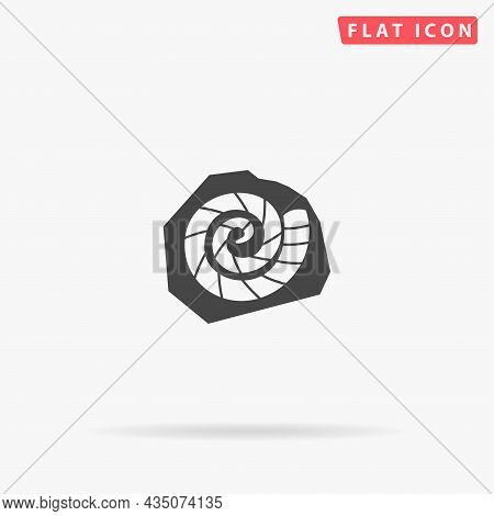 Fossilized Shell Of Ammonite Flat Vector Icon. Hand Drawn Style Design Illustrations.