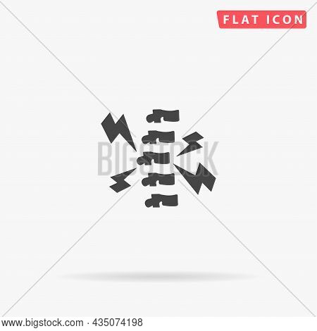 Backache, Back Pain Flat Vector Icon. Hand Drawn Style Design Illustrations.