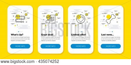 Vector Set Of Heart Target, Job Interview And Journey Path Line Icons Set. Ui Phone App Screens With