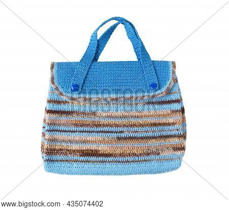 Knitted Bag. Multi-colored Knitted Bag On White Background.  Decorative Knitted Bag.