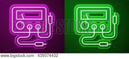 Glowing Neon Line Ampere Meter, Multimeter, Voltmeter Icon Isolated On Purple And Green Background.