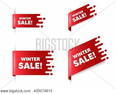 Winter Sale Text. Red Ribbon Tag Banners Set. Special Offer Price Sign. Advertising Discounts Symbol