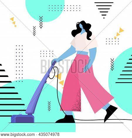 Housewife Using Vacuum Cleaner Girl Vacuuming Floor Doing Housework Housekeeping Cleaning Service Co