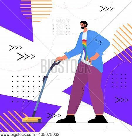 Man Wearing Rainbow Lgbt T-shirt Guy Vacuuming Floor Transgender Love Housework Concept