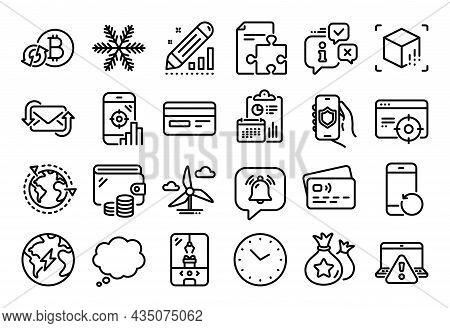 Vector Set Of Security App, Crane Claw Machine And Notification Bubble Line Icons Set. Calendar Repo