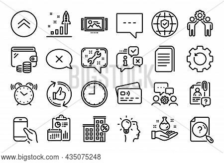 Vector Set Of Swipe Up, Global Insurance And Copy Files Line Icons Set. Calendar Report, Money Walle