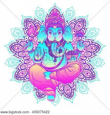 Beautiful Hand-drawn Tribal Style Elephant. Colorful Paisley Design, Boho Mandala Patterns, Ornament