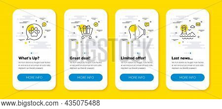 Vector Set Of Face Id, Shopping Cart And Pets Care Line Icons Set. Ui Phone App Screens With Line Ic