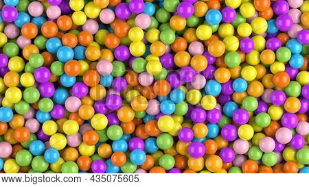 Colorful plastic balls - abstract colorful spheres background. Dry children's pool, holiday, children's party, games room concept - 3d rendering