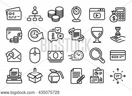 Vector Set Of Wine Glass, Article And Typewriter Line Icons Set. Calendar Report, Money Wallet And C