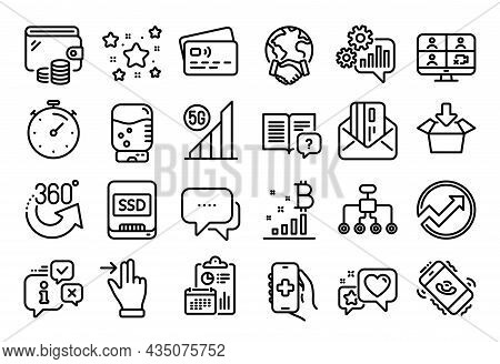 Vector Set Of Global Business, Touchscreen Gesture And Ssd Line Icons Set. Calendar Report, Money Wa