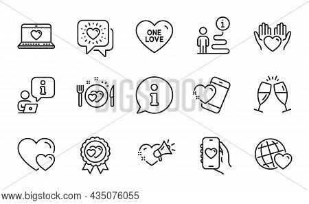 Love Icons Set. Included Icon As Friends Chat, Hearts, One Love Signs. Heart, Friends World, Champag