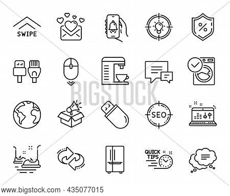 Vector Set Of Seo, Refrigerator And Idea Line Icons Set. Comment, Love Mail And World Planet Icons.