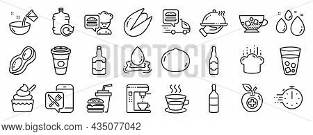 Set Of Food And Drink Icons, Such As Ice Tea, Cooking Hat, Coffee Cup Icons. Beer Bottle, Peanut, Co