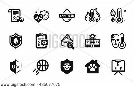 Vector Set Of Medical Prescription, Clean Skin And Hospital Building Icons Simple Set. Basketball, E