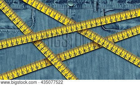 Weight Loss Challenge Measuring A Waist With A Tape Measure As A Weight Loss Or Dieting And Fitness