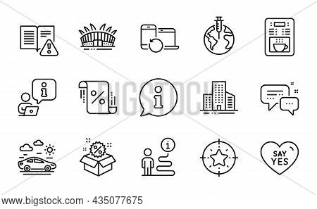 Line Icons Set. Included Icon As Pandemic Vaccine, Star Target, Coffee Maker Signs. Car Travel, Sale
