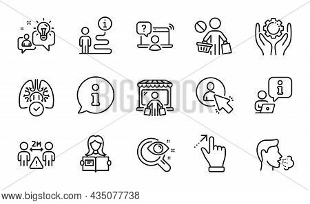 People Icons Set. Included Icon As Employee Hand, Vision Test, Touchscreen Gesture Signs. Cough, Ide