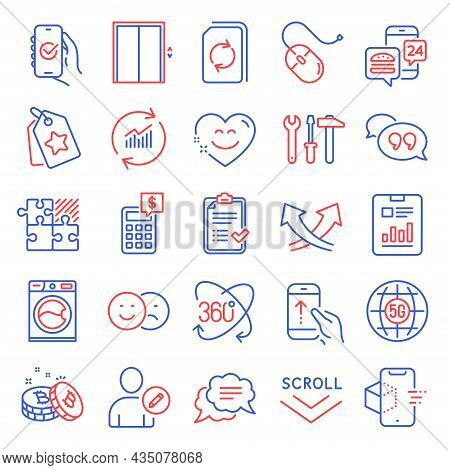 Technology Icons Set. Included Icon As Lift, Text Message, Scroll Down Signs. 5g Internet, Bitcoin,