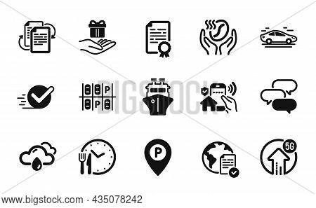 Vector Set Of Rainy Weather, Checkbox And Loyalty Program Icons Simple Set. Certificate Diploma, Cof