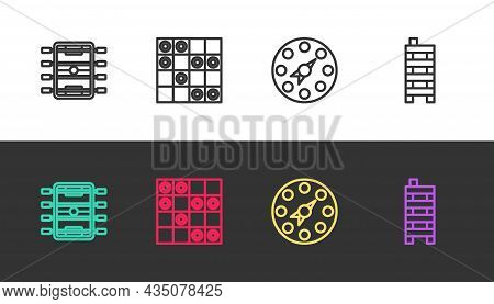 Set Line Hockey Table, Board Game Of Checkers, Twister And Mahjong Pieces On Black And White. Vector