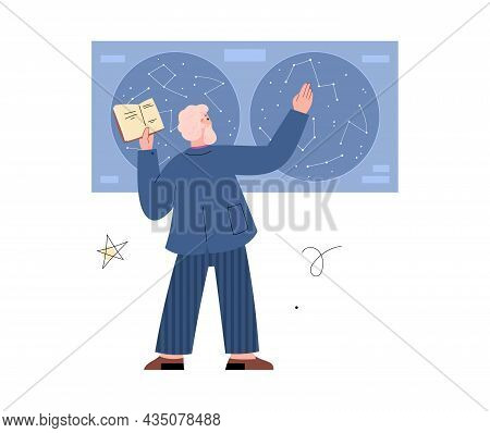 Old Astronomer Standing In Front Of Sky Map, Flat Vector Illustration Isolated.