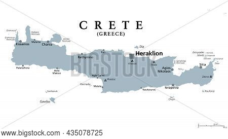 Crete, Greek Island, Gray Political Map, With Capital Heraklion. Largest Island Of Greece And Fifth