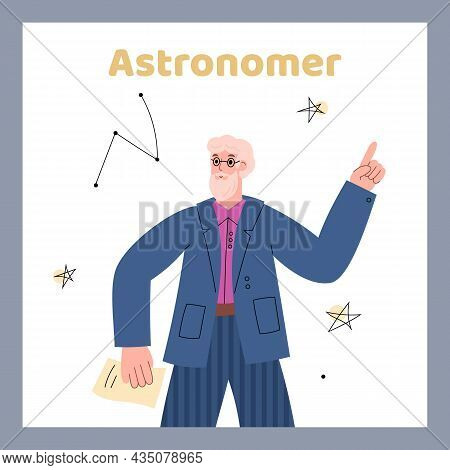 Astronomer Poster Or Card With Scientist Character Flat Vector Illustration.