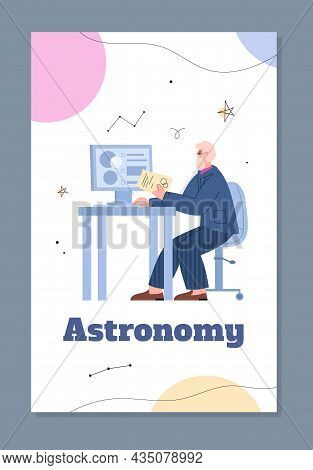Astronomy Banner For Social Media And Web Publication, Flat Vector Illustration.