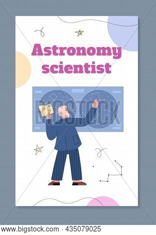 Astronomy Scientist Banner For Web Publications Flat Vector Illustration.