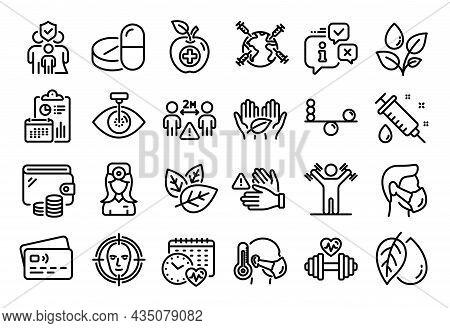 Vector Set Of Medical Drugs, Balance And Medical Syringe Line Icons Set. Calendar Report, Money Wall