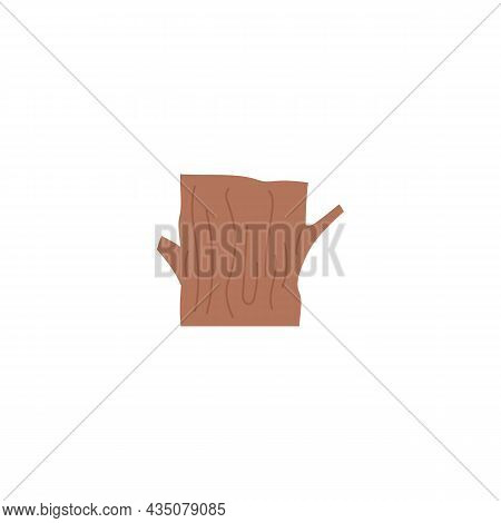 Icon Of Hollow Log Or Cut Tree Trunk, Flat Cartoon Vector Illustration Isolated.