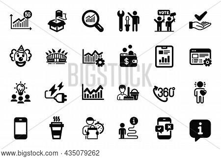 Vector Set Of Business Icons Related To Phone Survey, Dermatologically Tested And Report Document Ic