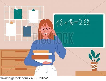 School, Education, Study. Girl Standing With Textbooks In Her Hands In Classroom. Math Teacher, Equa