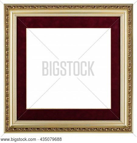 Golden Red Classic Old Vintage Wooden Mockup Canvas Frame Isolated On White Background. Blank And Di
