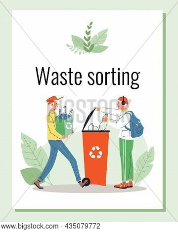 Waste Sorting And Recycling Banner Or Poster Layout, Flat Vector Illustration.