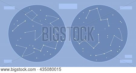 Sky Map Hemispheres With Stars And Constellations, Flat Vector Illustration.