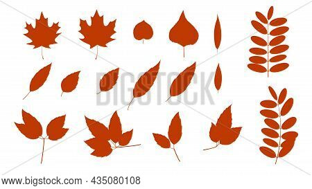 Rust Colored Leaf Branch Icon. Filled Leaf Silhouette Glyph