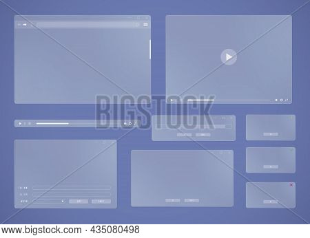 Glass User Interface Windows. Contemporary Internet Browser, Dialog Box And Error Message Pop-up Of