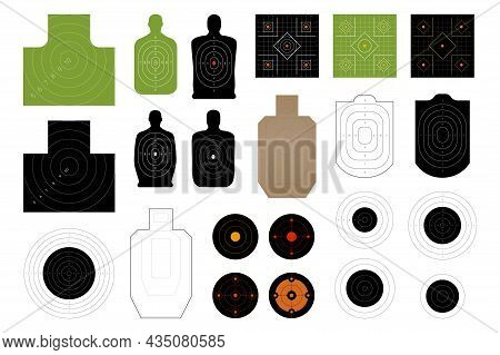 Shooting Targets For Firing Practice On A Rifle Range, Police Or Army Training Fields