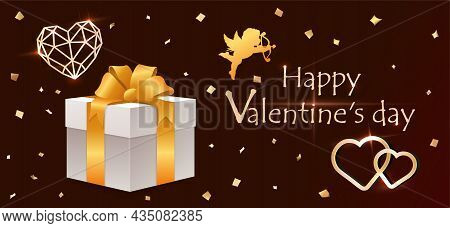 Valentines Day Poster. Happy Holiday, Special Offer, Discount, Gift To Customers. Romantic Realistic
