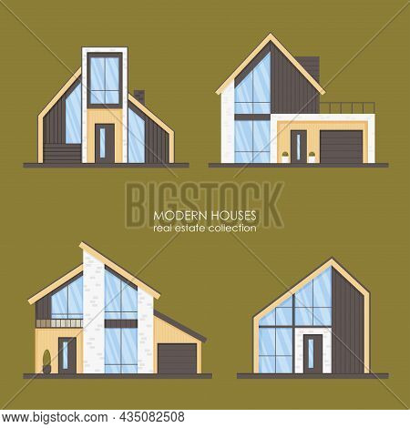 Set Of Modern Houses, Cottages, Townhouses In Minimalistic Style With Panoramic Windows. Real Estate