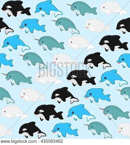 Aquatic Mammal Pattern With Childish Cartoon Shape, Beluga, Dolphin, Killer Whale, Narwhal