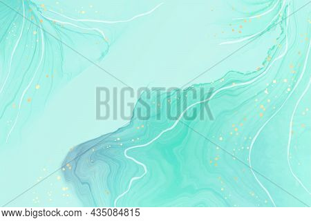Abstract Turquoise And Teal Blue Liquid Marbled Watercolor Background With Golden Lines And Dots. Cy