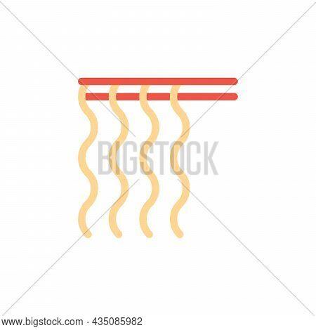 Red Chopsticks Holding Udon Noodles Vector Icon. Noodles On Chopsticks Illustration For Restaurant M